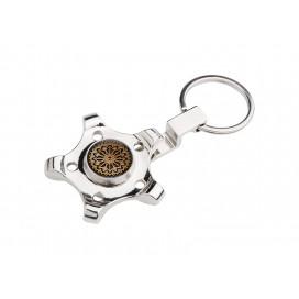 Fidget Spinner Keyring(Pentagonal Gear, Silver)