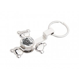 Fidget Spinner Keyring(Panda, Silver)