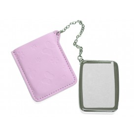 Rectangular Hand Mirror with Leader Case