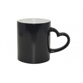 11oz Black Color Changing Mug with Heart Handle