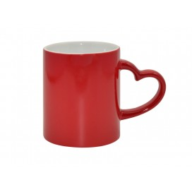 11oz Red Color Changing Mug with Heart Handle
