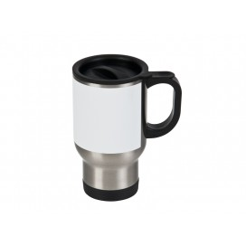 14oz Stainless Steel Mug with White Patch