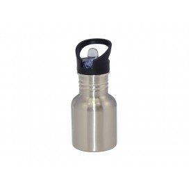 400ml Silver Stainless Steel Water Bottle with Straw Top