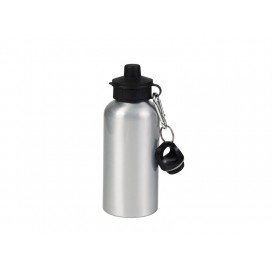 600ml Silver Aluminium Water Bottle with two tops